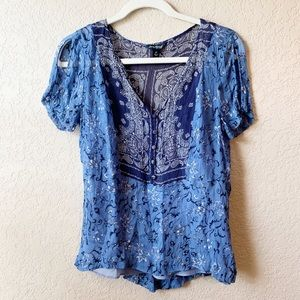 Lucky Brand blue Scarf Print blouse